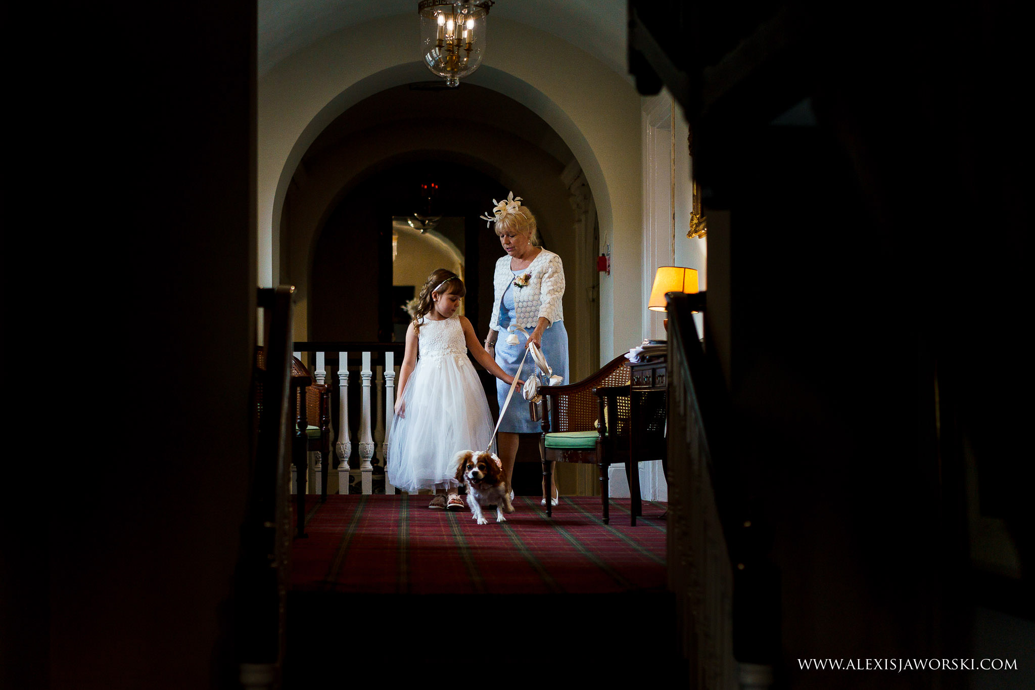 mum of the bride walking dog
