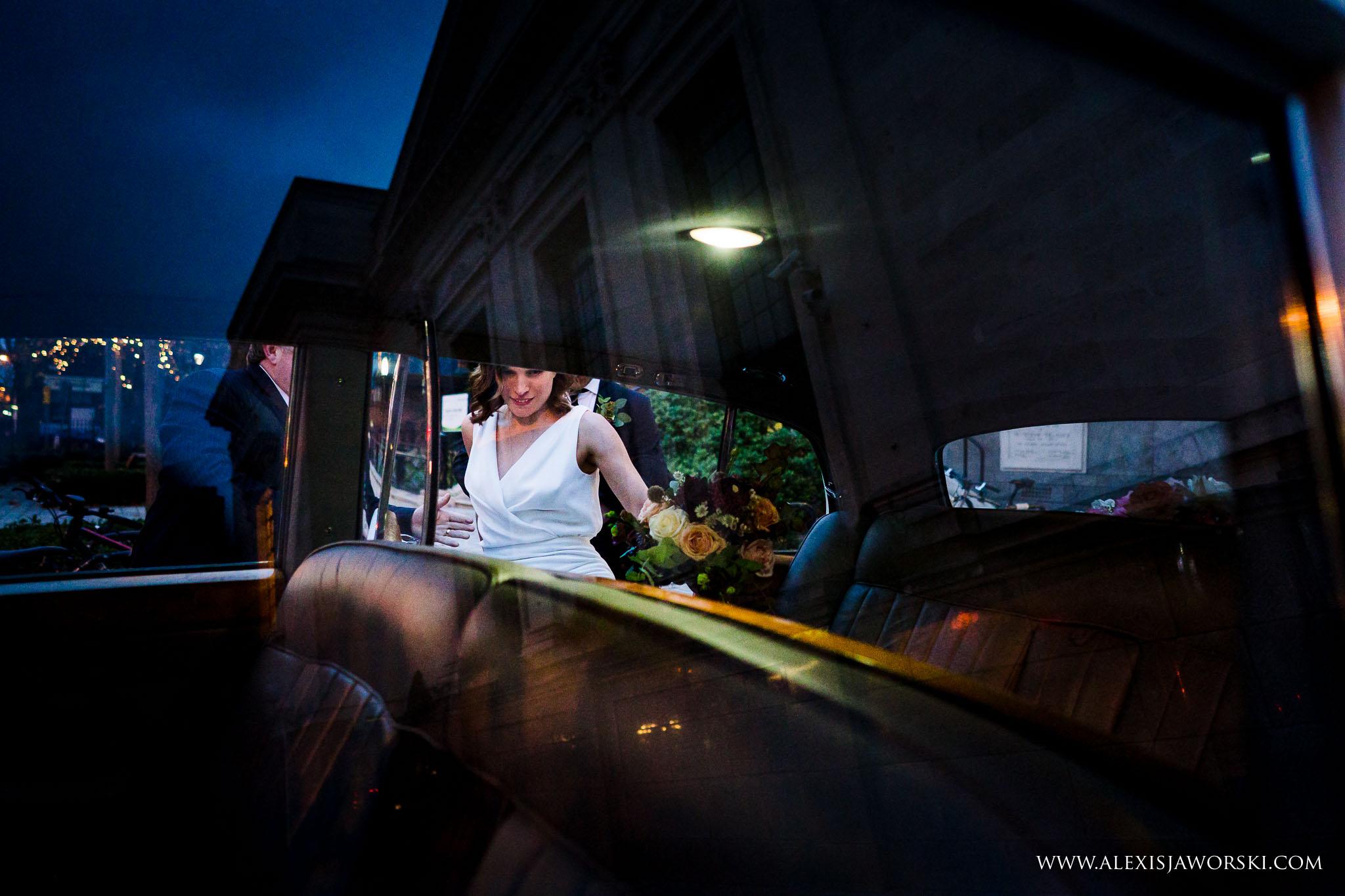 bride entering the car