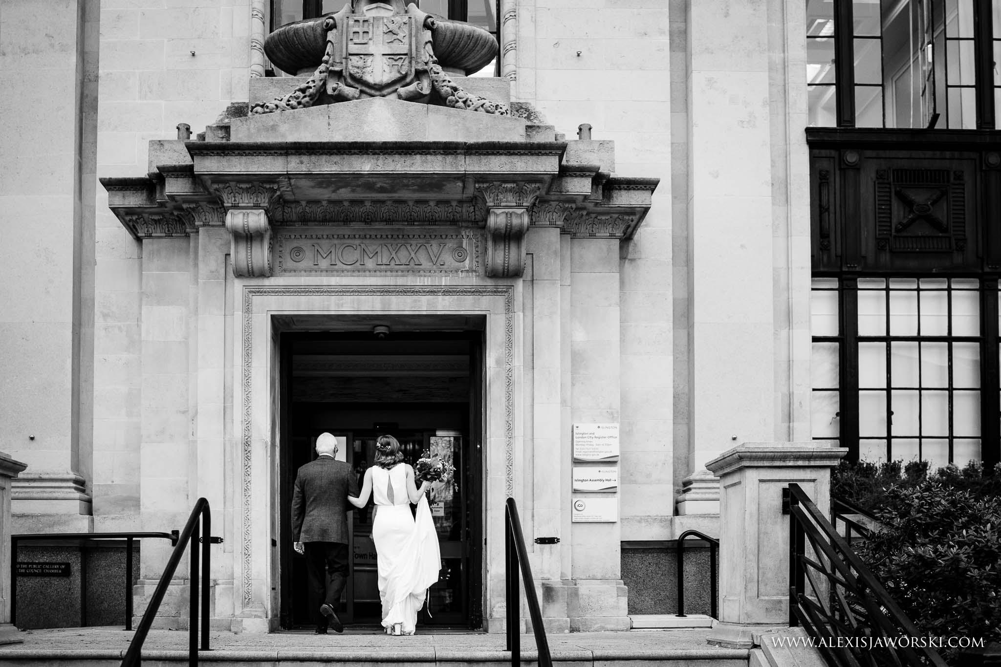 bride entering the twon hall