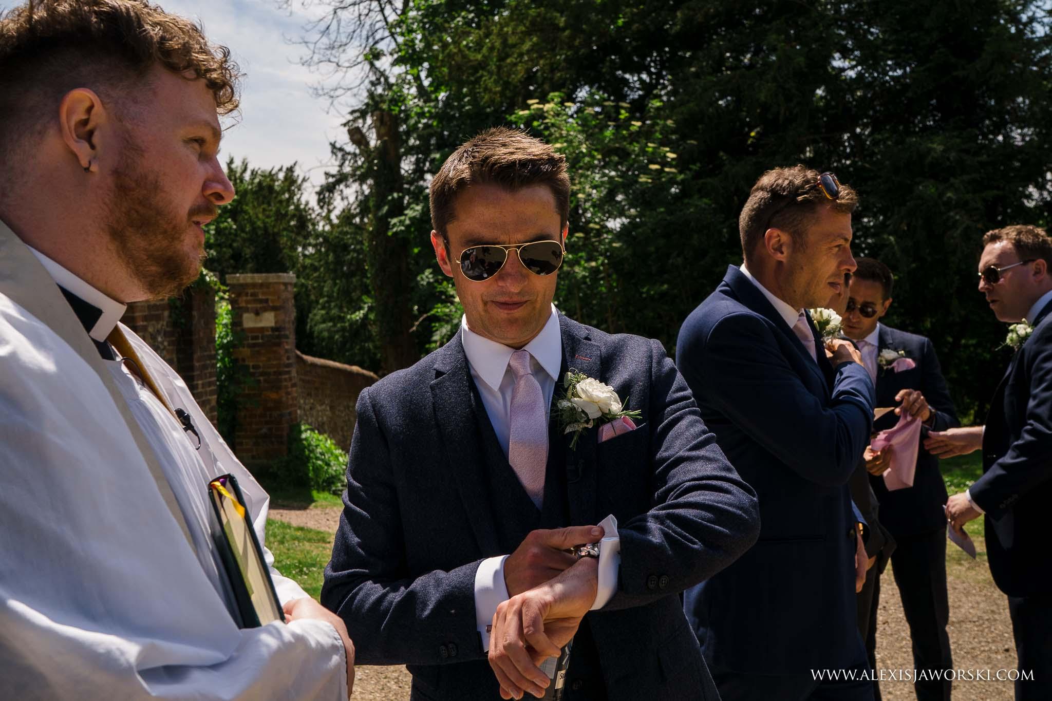 groom impatient for bride to arrive