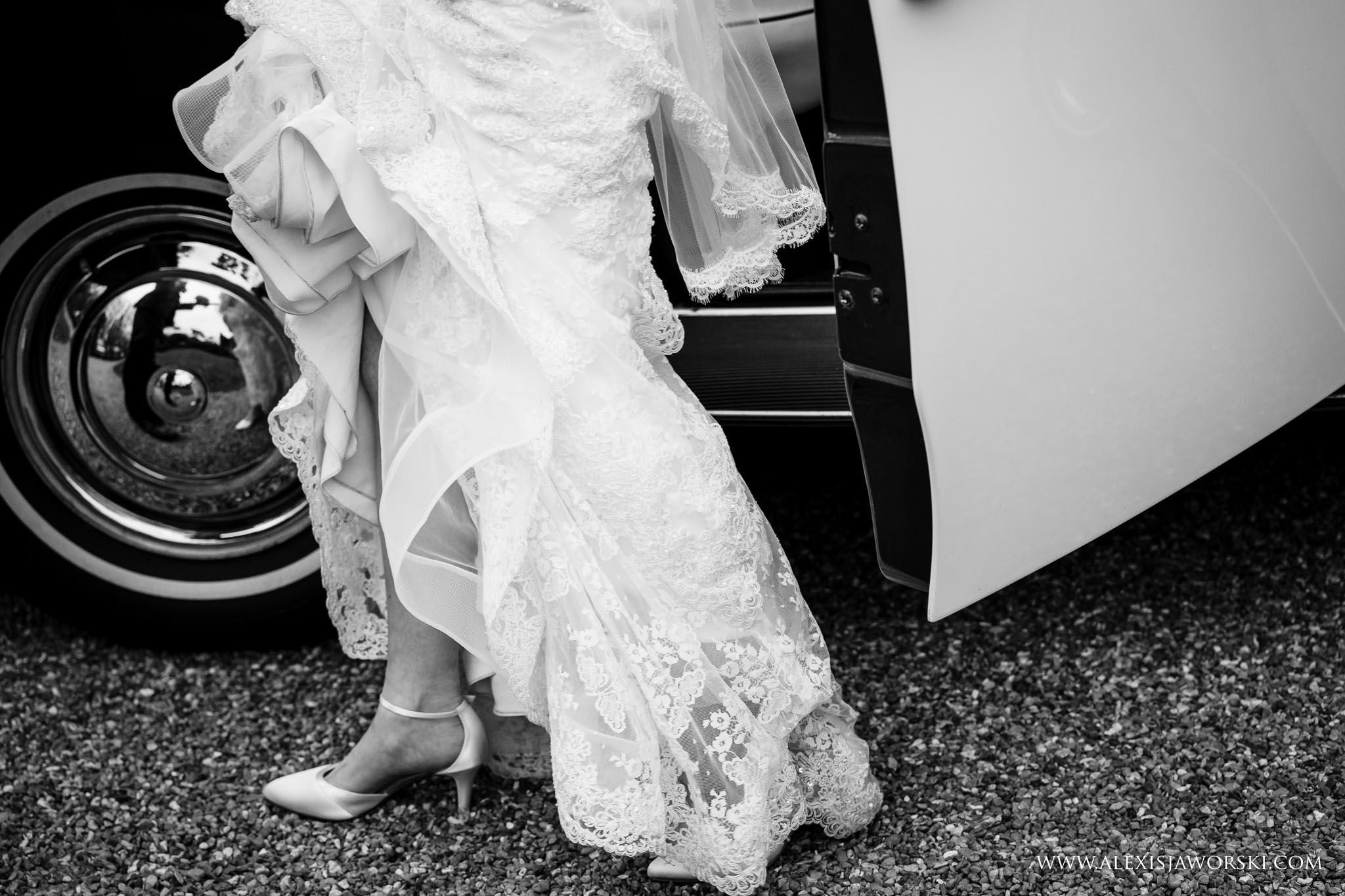 bride exiting the car