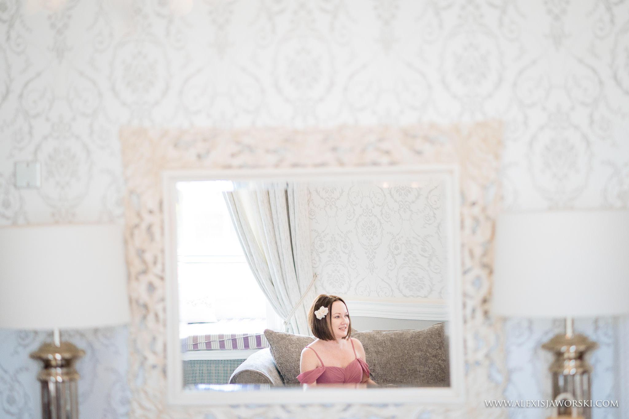 bridesmaid in mirror reflection