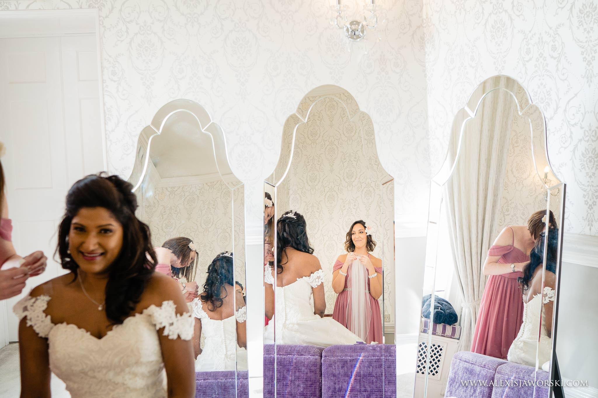 bride is in her wedding dress