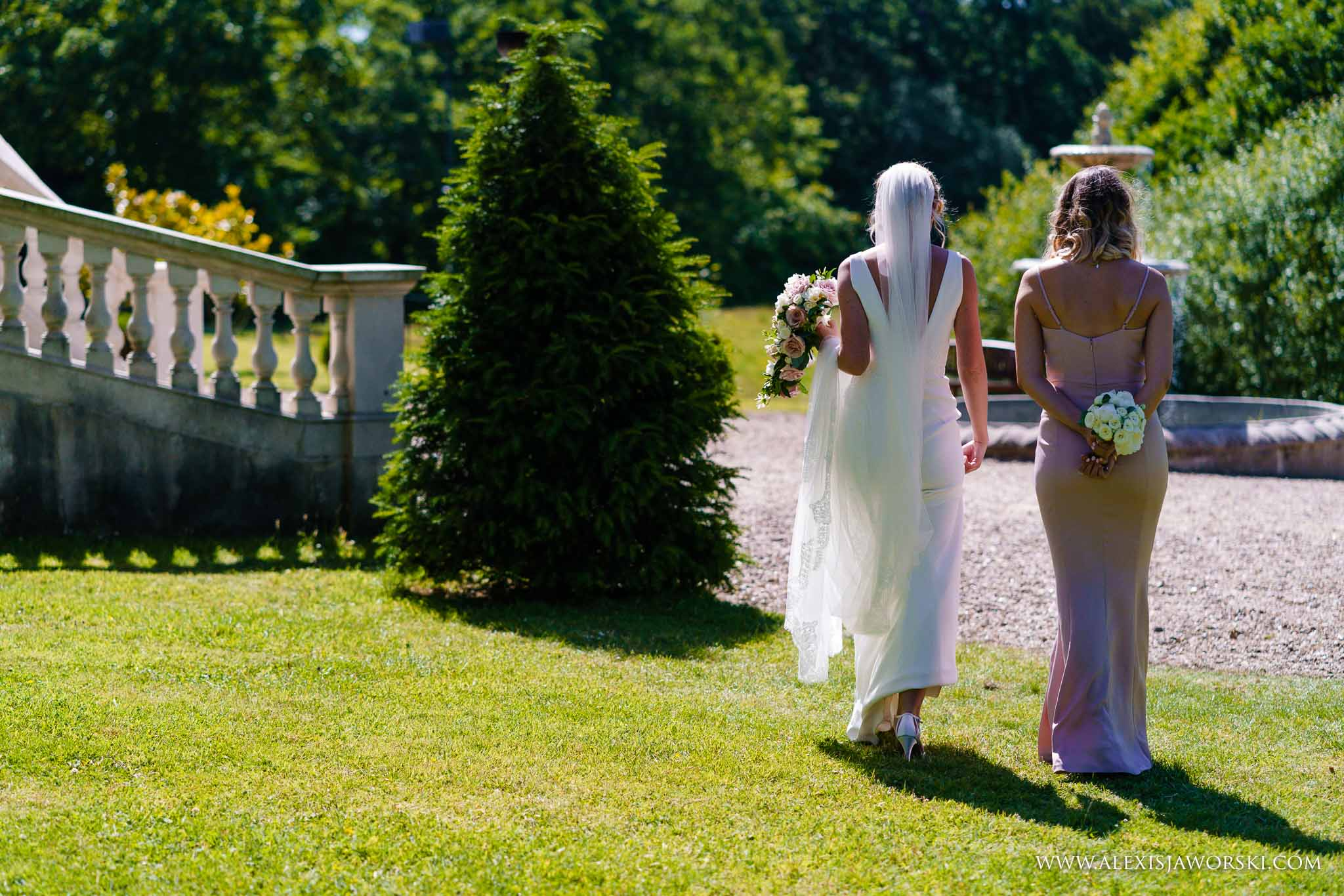 bride and maid of honour walking